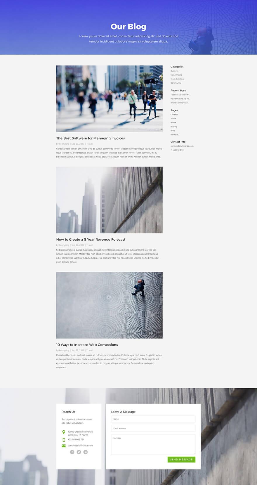 Návrh stránky blog