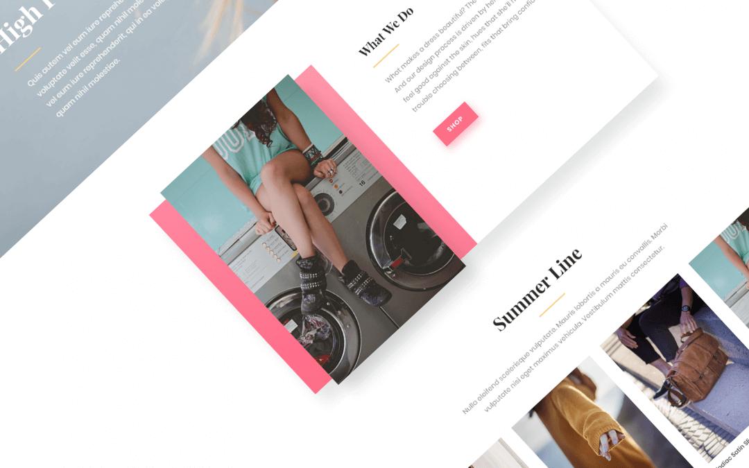 Divi: Předpřipravený vzhled pro módní web (včetně obrázků) zdarma ke stažení