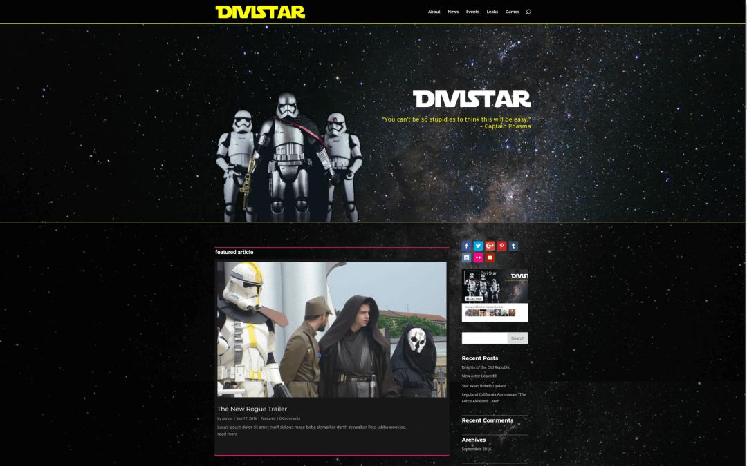 Star Wars design pro Divi