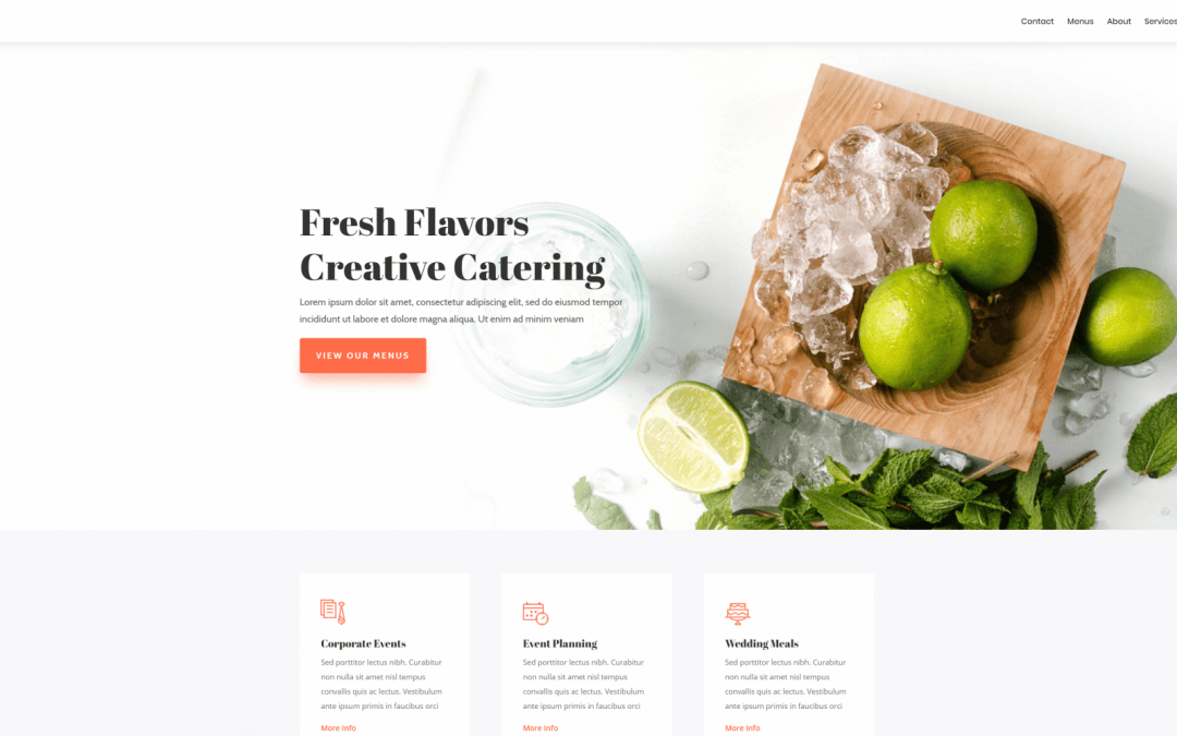 Divi: Předpřipravený vzhled pro cateringový web (včetně obrázků) zdarma ke stažení