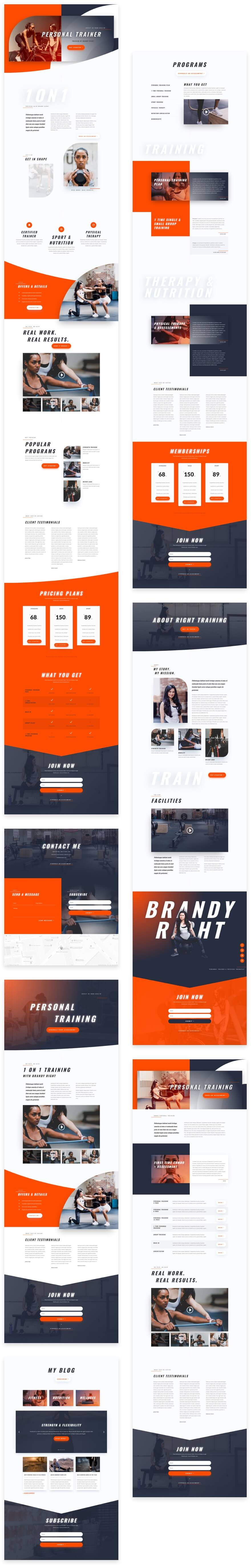 divi personal trainer layout pack grid