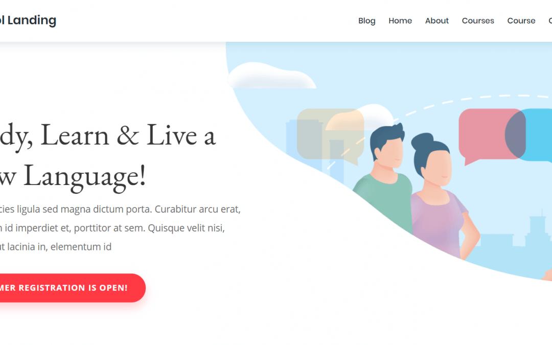 Divi: Předpřipravený vzhled pro webové stránky jazykové školy (včetně obrázků) zdarma ke stažení
