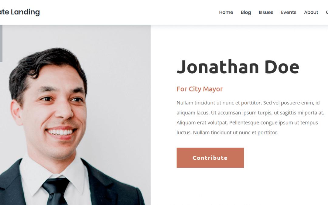 Divi: Předpřipravený vzhled pro webové stránky politického kandidáta (včetně obrázků) zdarma ke stažení