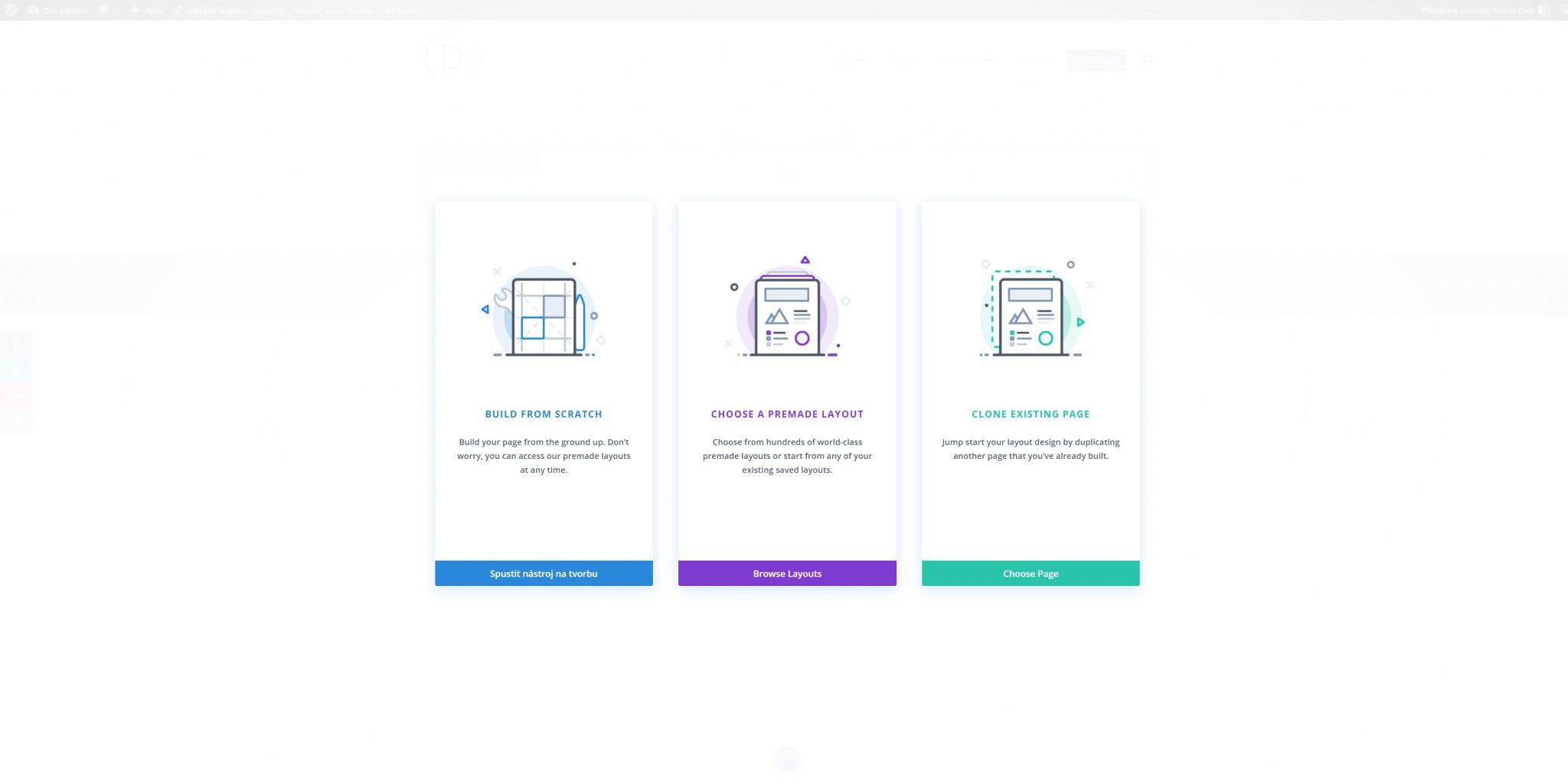 První spuštění Visual Builderu