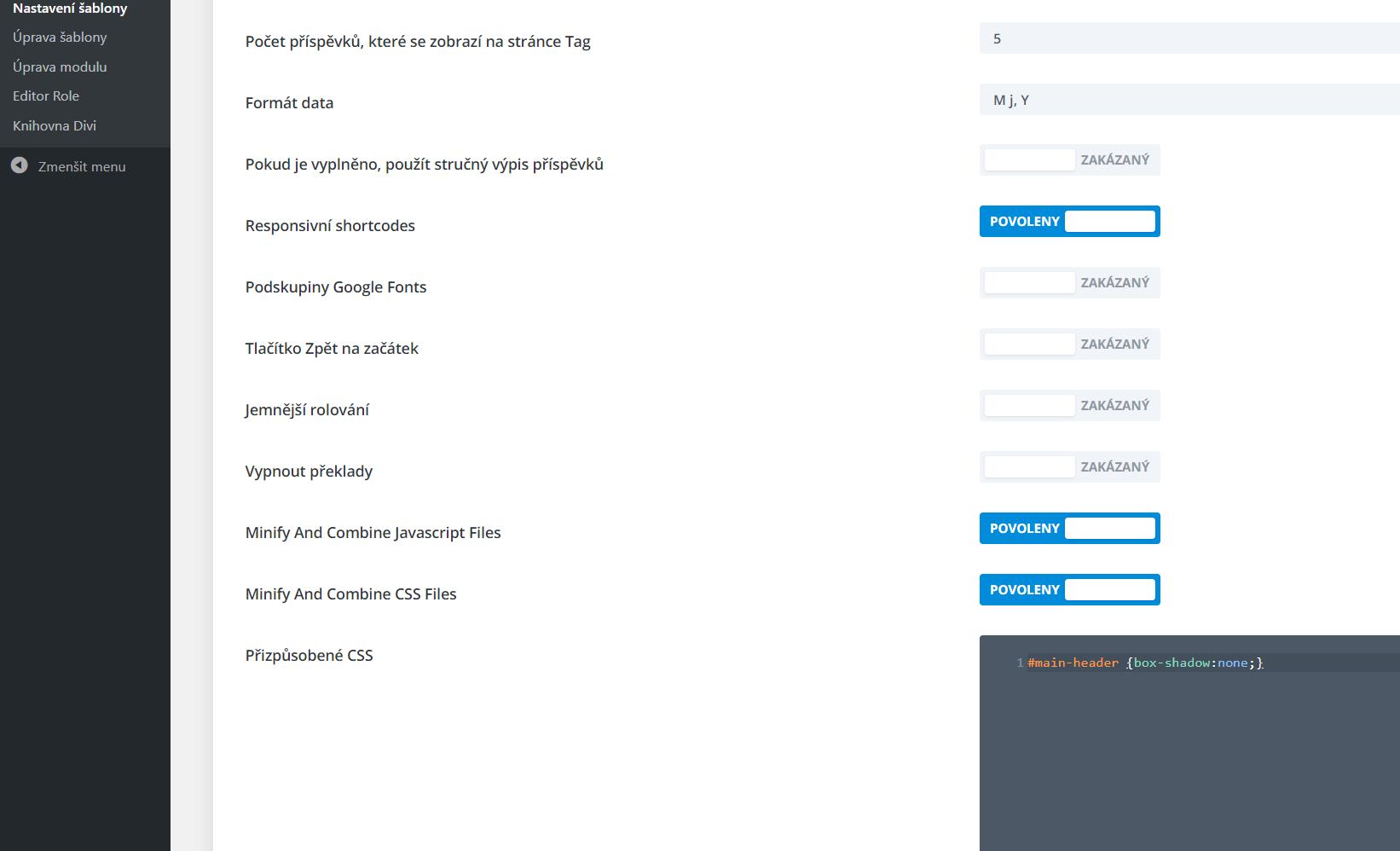 Přízpůsobené CSS