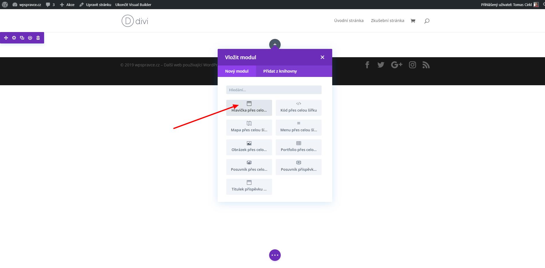 Jak do stránky vložit modul Hlavička přes celou šířku