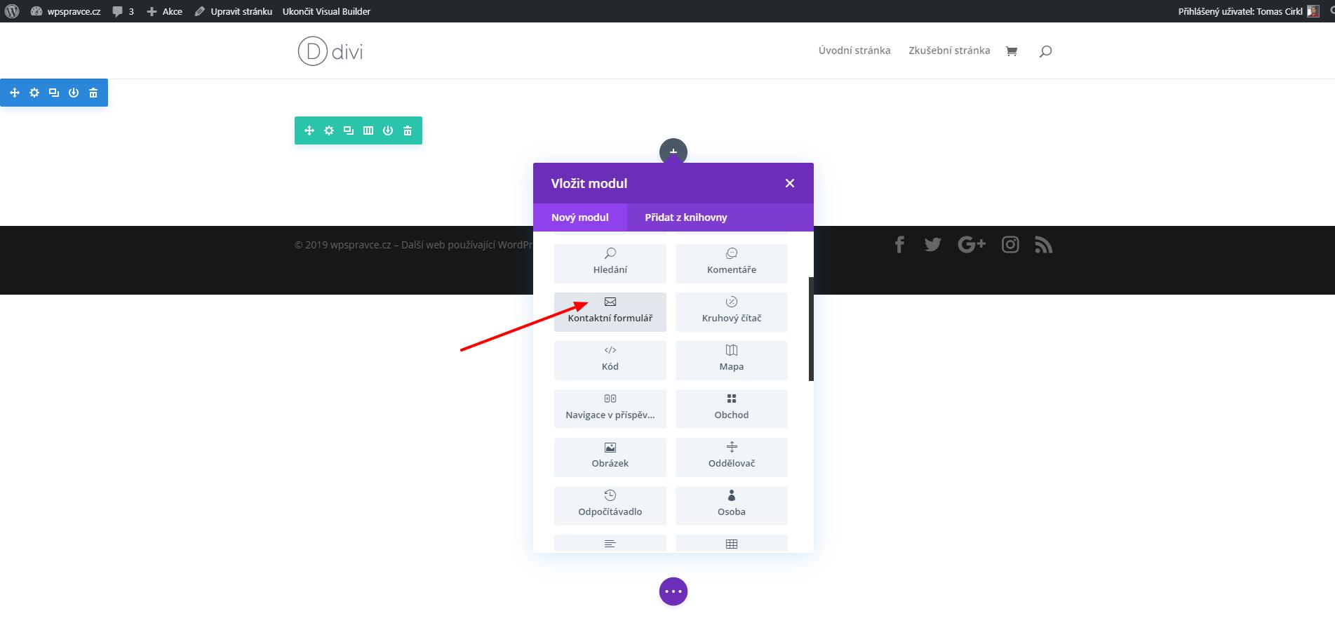 Jak vložit modul Kontaktní formulář