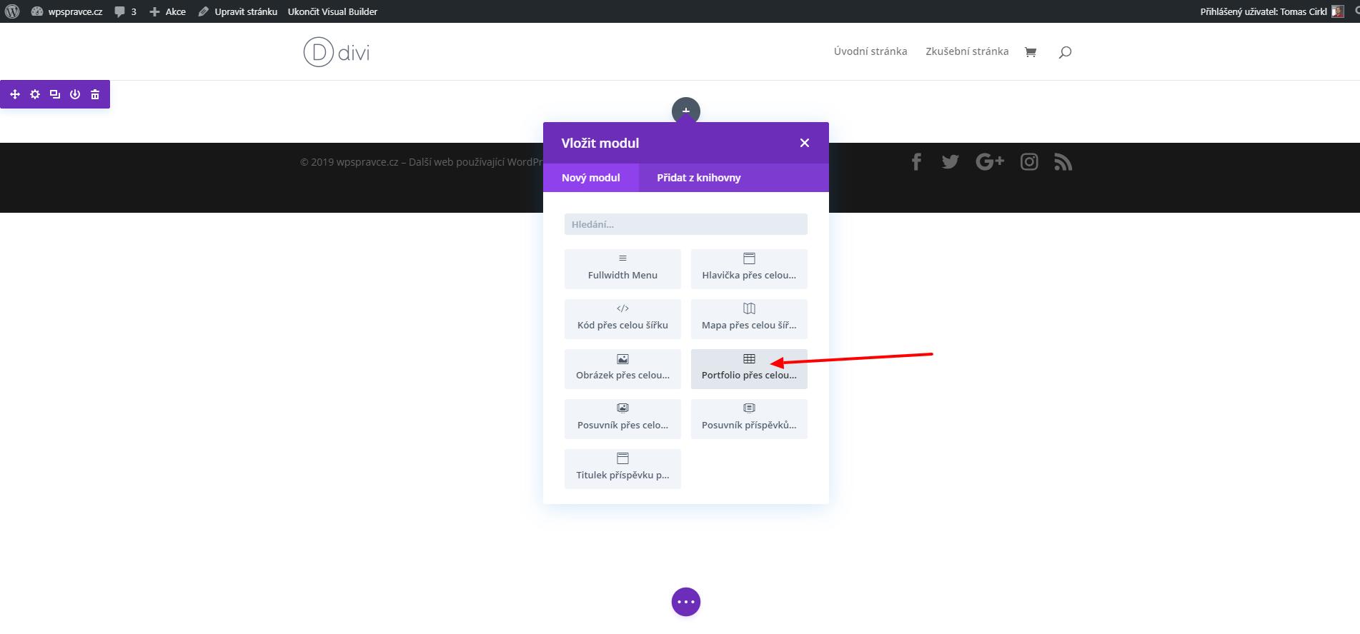 Jak vložit modul Portfolio přes celou šířku