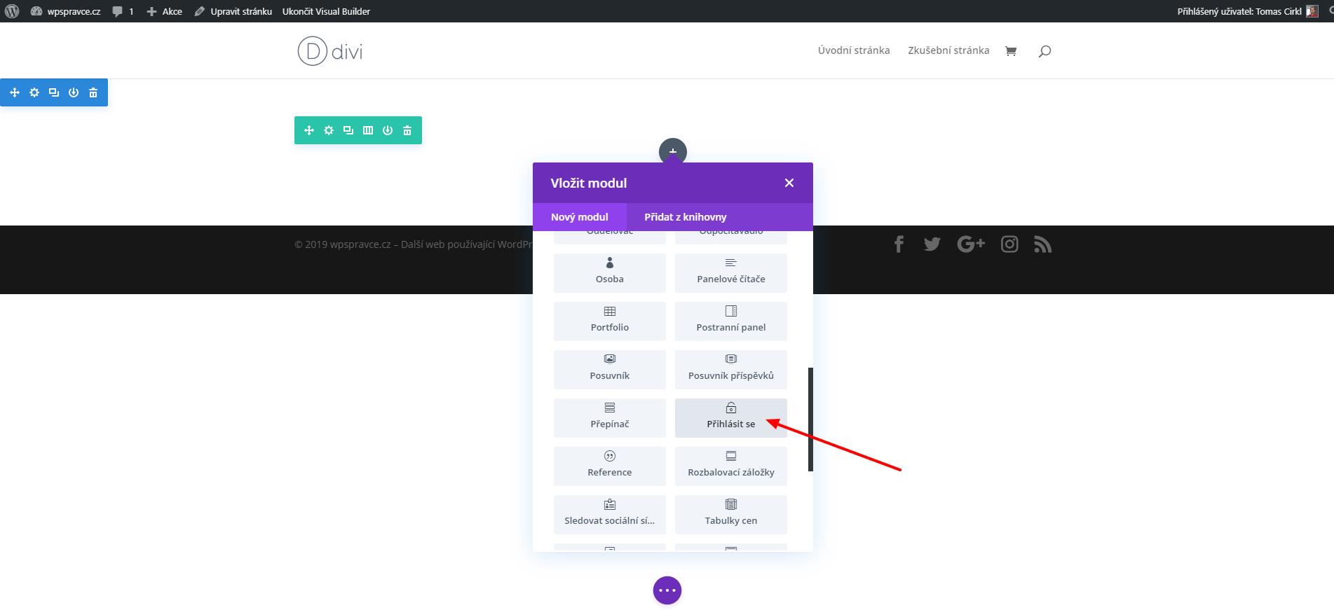 Jak vložit modul Přihlásit se
