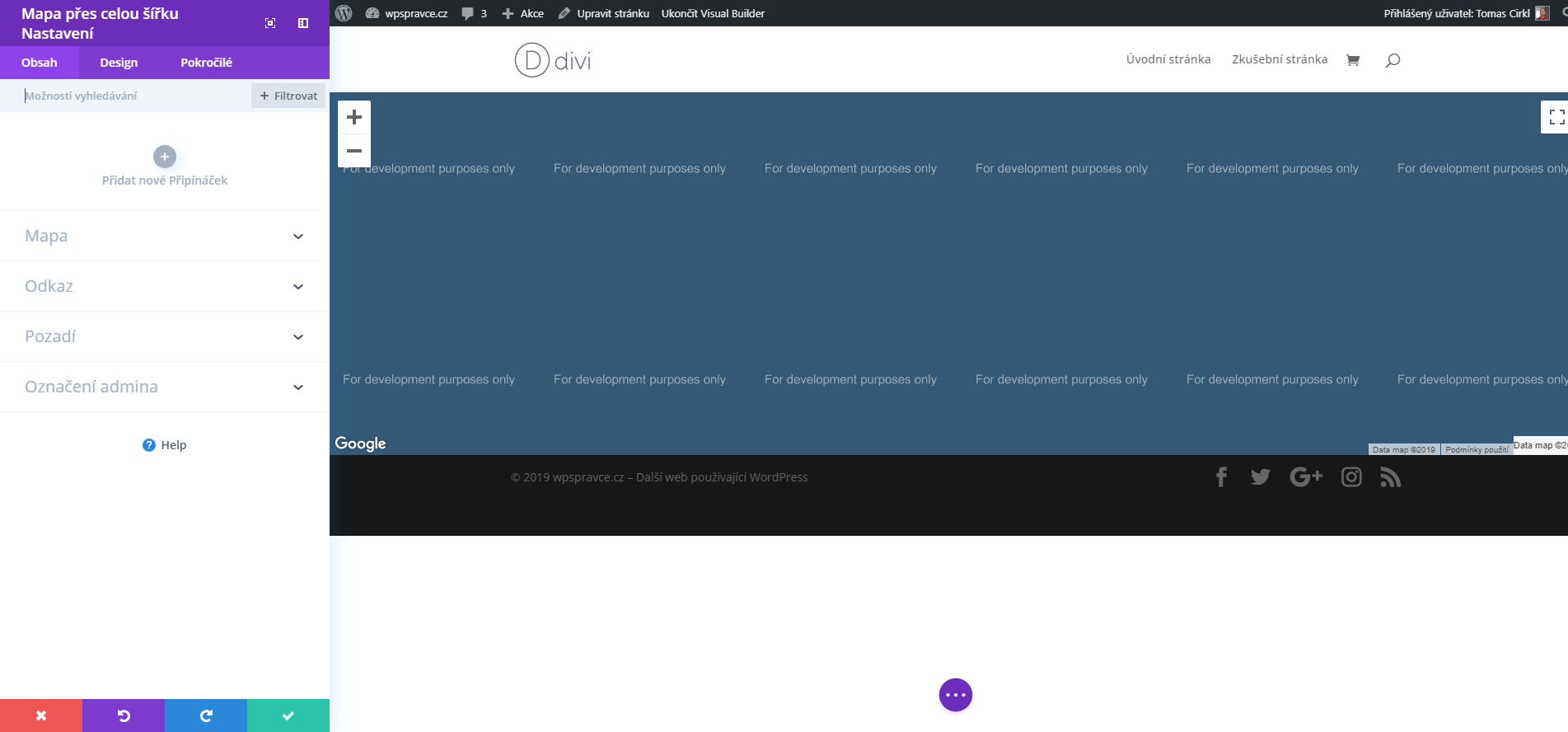 Nastavení modulu Mapa přes celou šířku