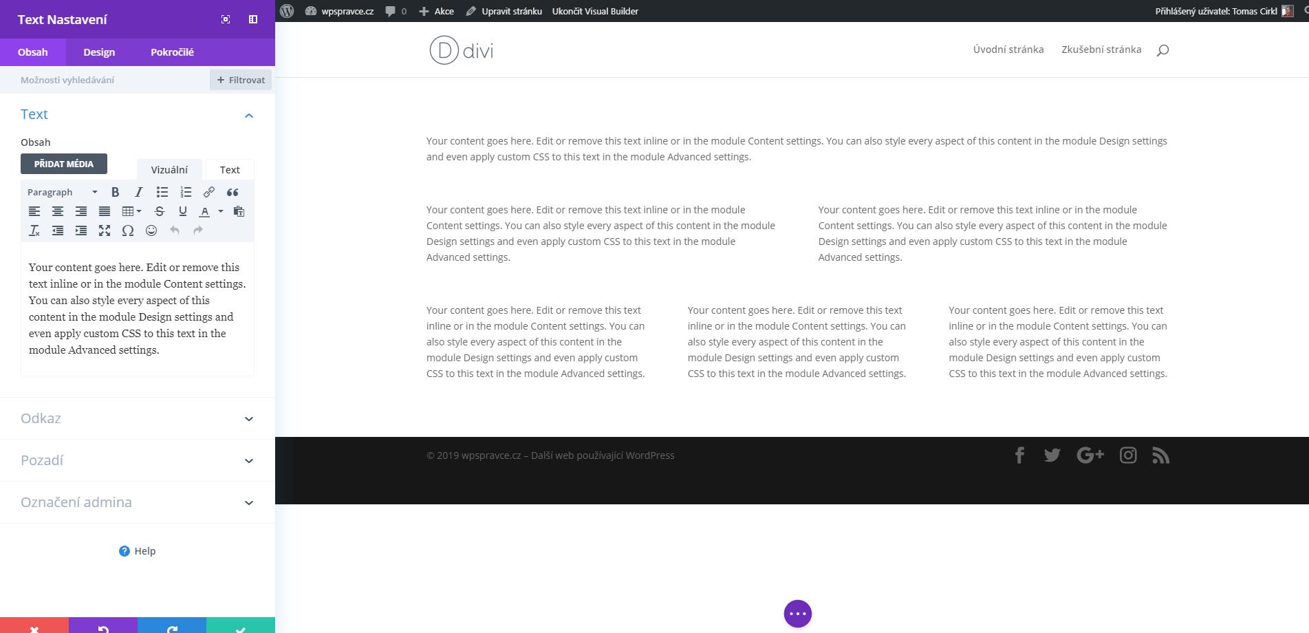 Nastavení modulu Text