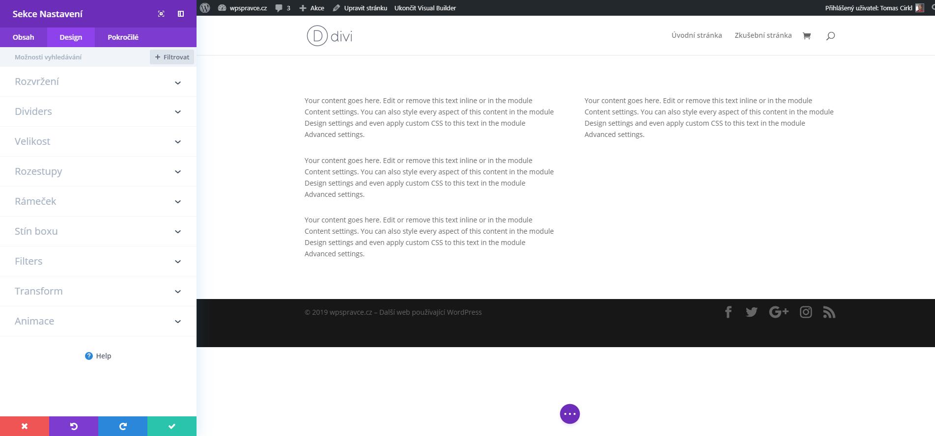 Nastavení sekce - Design