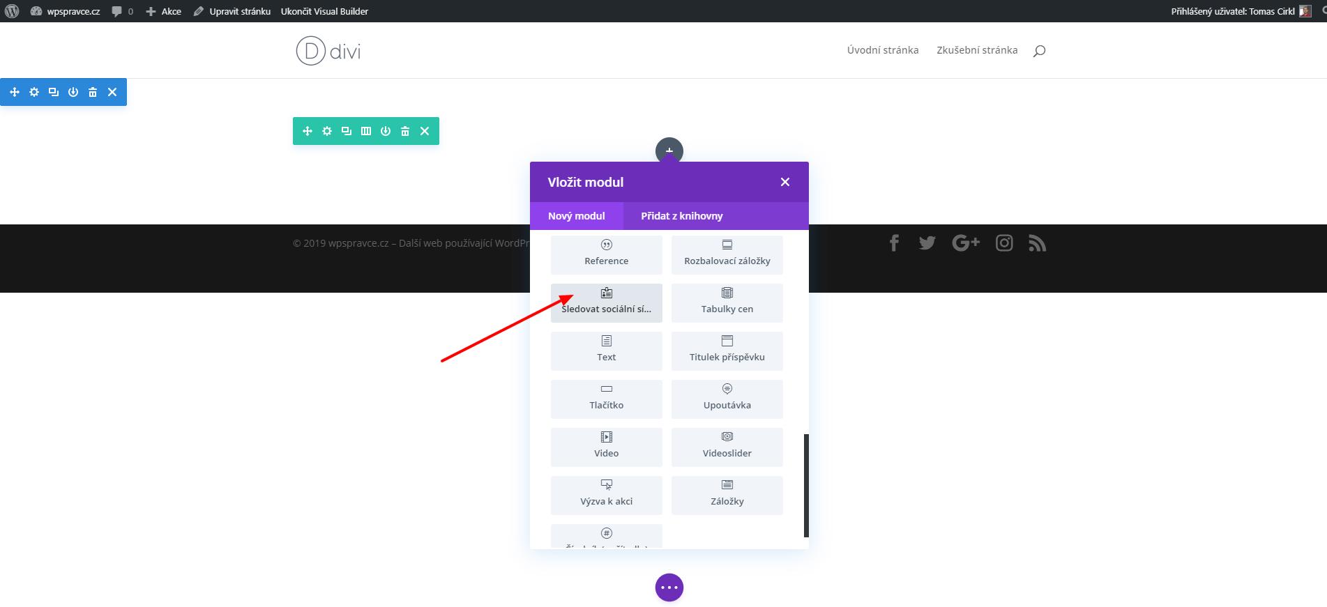 Vložení modulu Sledovat sociální sítě