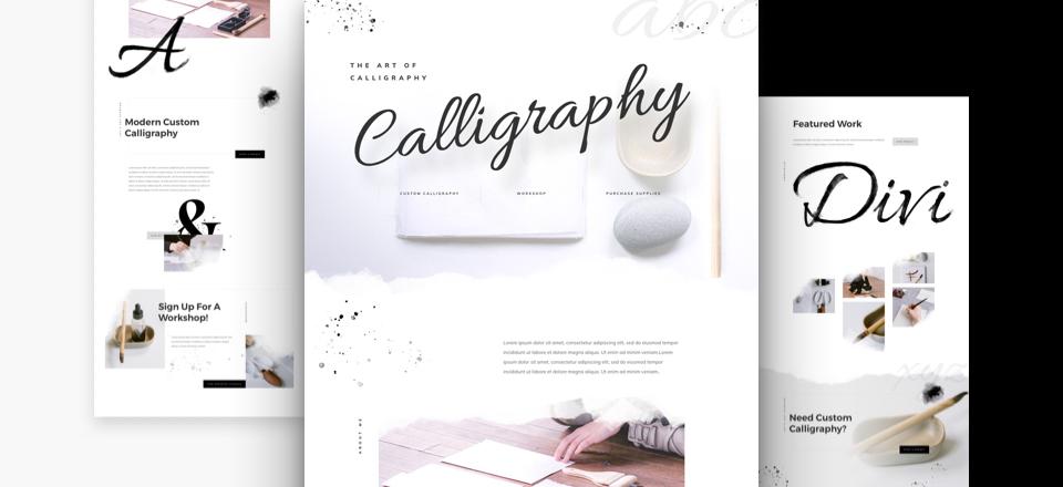 Divi: Předpřipravený vzhled pro webové stránky kaligrafa (včetně obrázků) zdarma ke stažení
