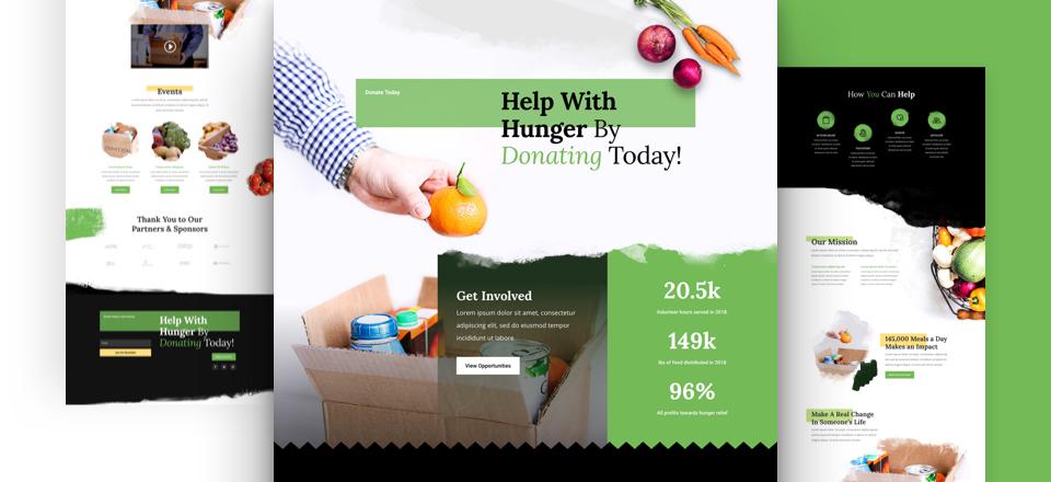 Divi: Předpřipravený vzhled webu pro potravinovou banku (včetně obrázků) zdarma ke stažení