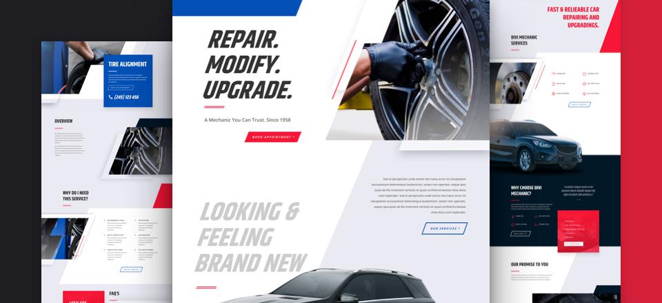 Divi: Předpřipravený vzhled webu pro mechaniky (včetně obrázků) zdarma ke stažení