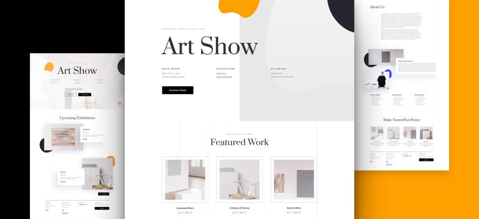 Divi: Předpřipravený vzhled webu pro uměleckou galerii (včetně obrázků) zdarma ke stažení