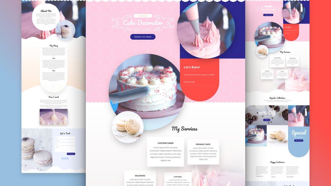 Divi: Předpřipravený vzhled webu pro výrobce dortů (včetně obrázků) zdarma ke stažení