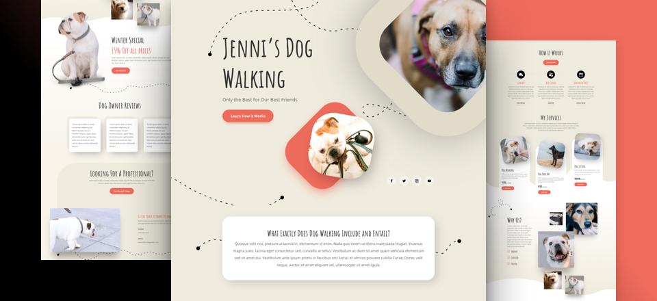 Divi: Předpřipravený vzhled webu pro lidi, kteří nabízí venčení psů (včetně obrázků) zdarma ke stažení