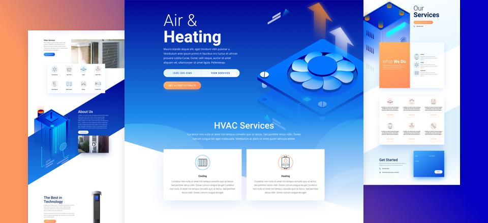 Divi: Předpřipravený vzhled webu pro HVAC společnost (včetně obrázků) zdarma ke stažení