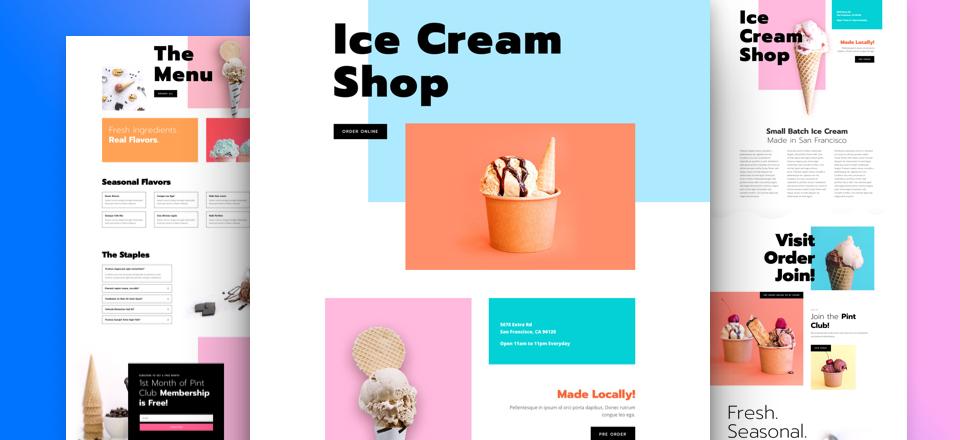 Divi: Předpřipravený vzhled webu pro zmrzlináře (včetně obrázků) zdarma ke stažení