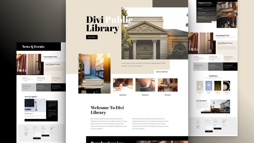 Divi: Předpřipravený vzhled webu pro knihovnu (včetně obrázků) zdarma ke stažení