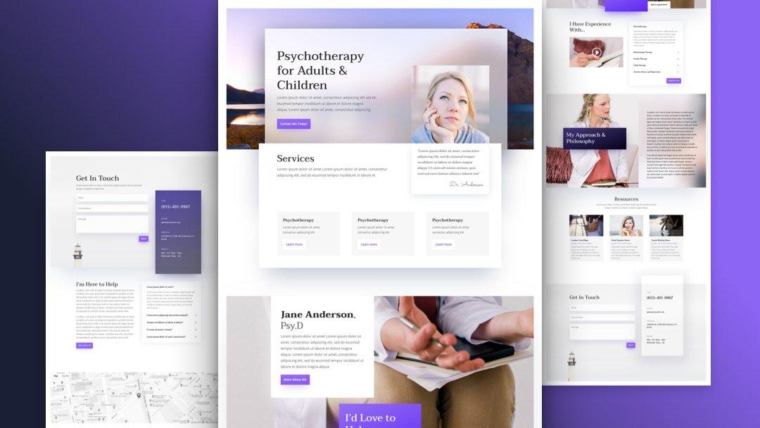 Divi: Předpřipravený vzhled webu pro psychologa (včetně obrázků) zdarma ke stažení