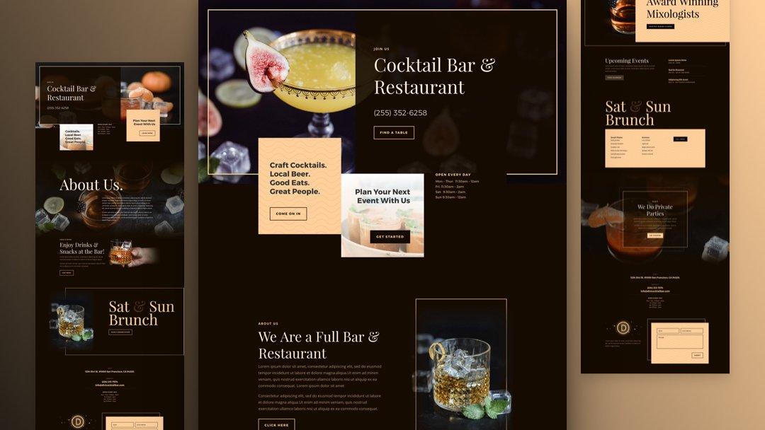 Divi: Předpřipravený vzhled webu pro bar (včetně obrázků) zdarma ke stažení