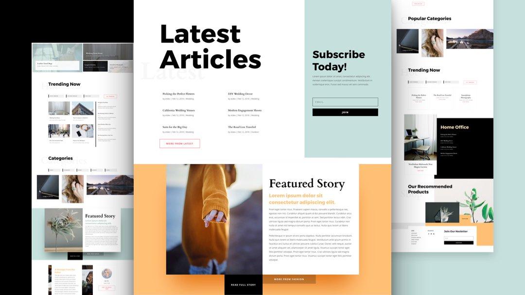 Divi: Předpřipravený vzhled webu pro magazín (včetně obrázků) zdarma ke stažení