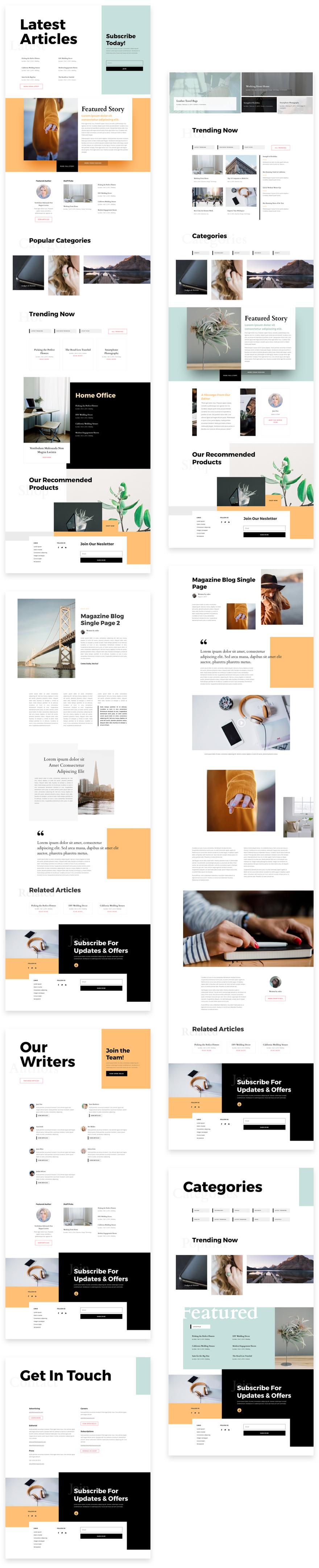 Náhled stránek šablony Magazine v Divi