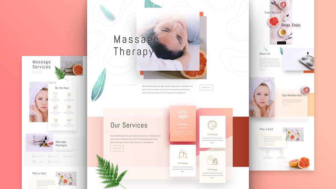 Divi: Předpřipravený vzhled webu pro masáže (včetně obrázků) zdarma ke stažení