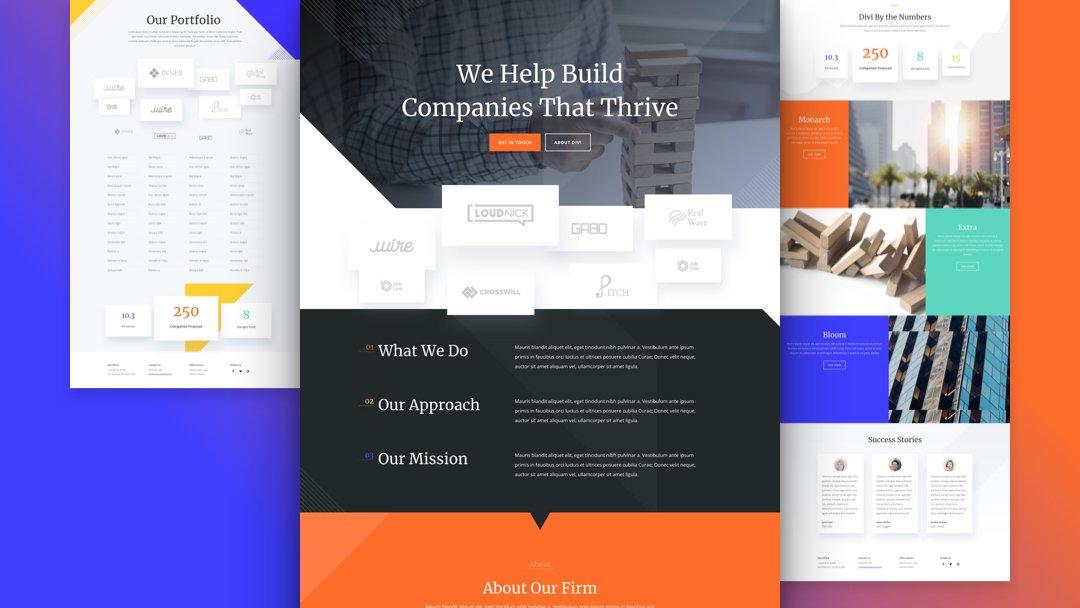 Divi: Předpřipravený vzhled webu pro Venture kapitál firmu (včetně obrázků) zdarma ke stažení