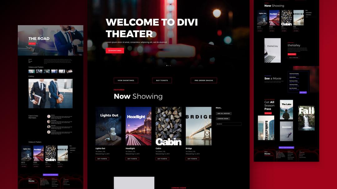 Divi: Předpřipravený vzhled webu pro kino (včetně obrázků) zdarma ke stažení