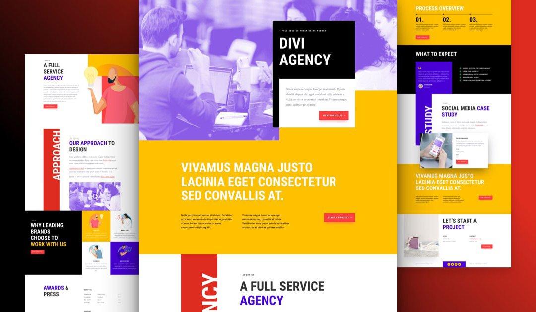 Divi: Předpřipravený vzhled webu pro reklamní agenturu (včetně obrázků) zdarma ke stažení