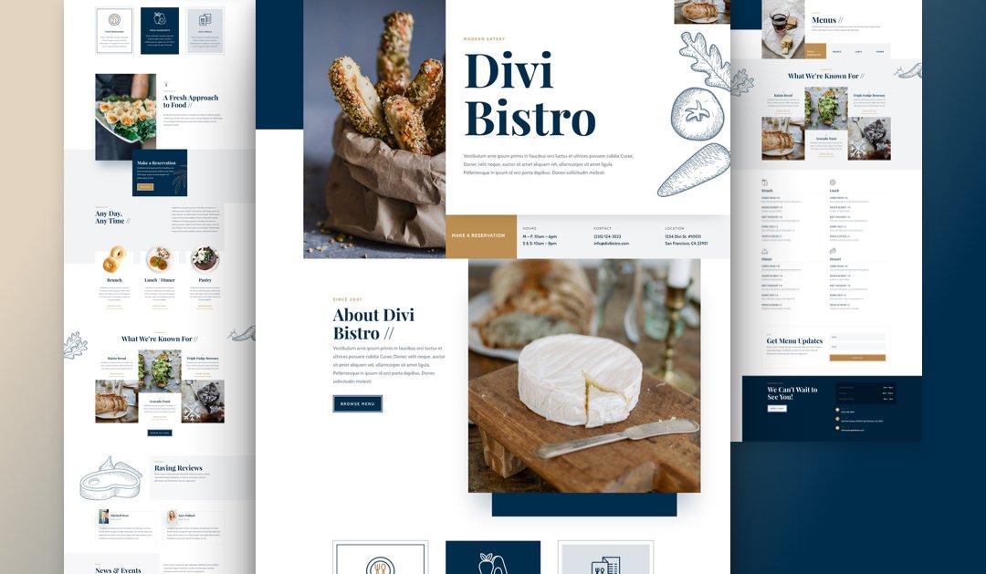 Divi: Předpřipravený vzhled webu pro bistro (včetně obrázků) zdarma ke stažení