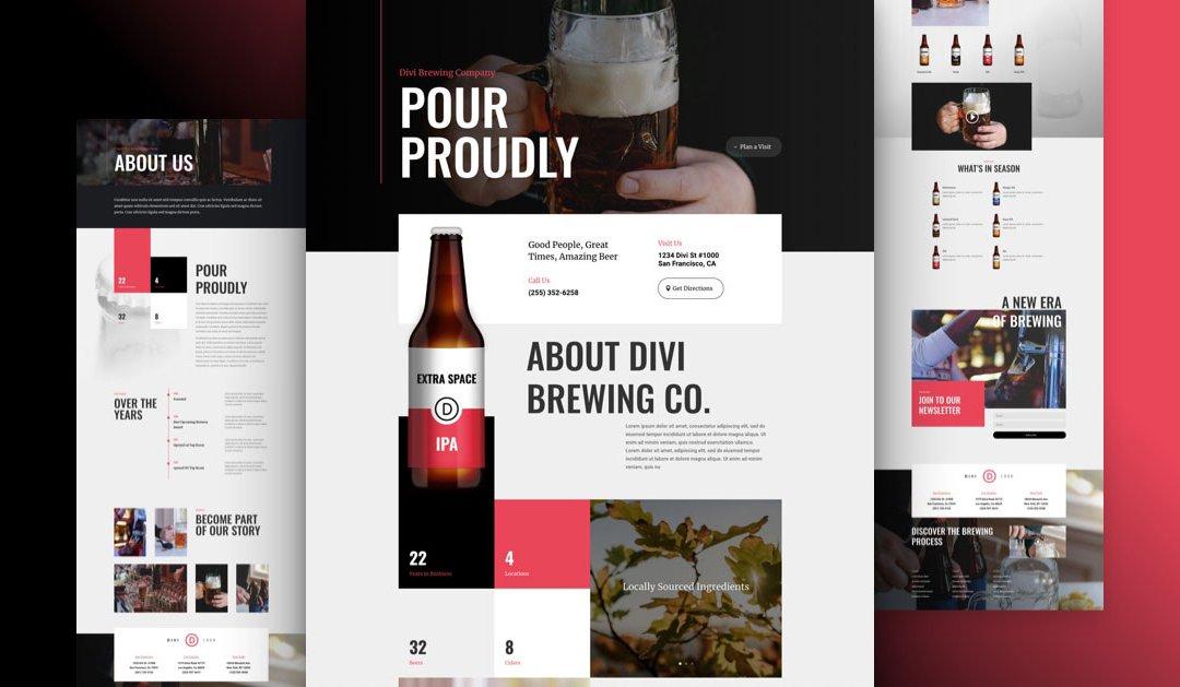 Divi: Předpřipravený vzhled webu pro pivovar (včetně obrázků) zdarma ke stažení