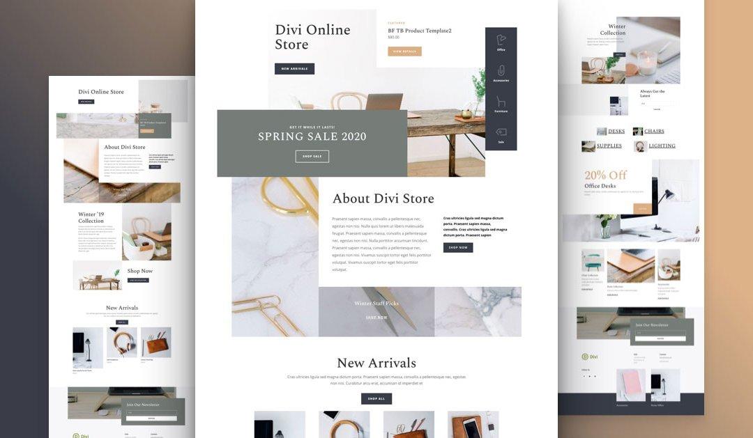 Divi: Předpřipravený vzhled webu pro internetový obchod (včetně obrázků) zdarma ke stažení