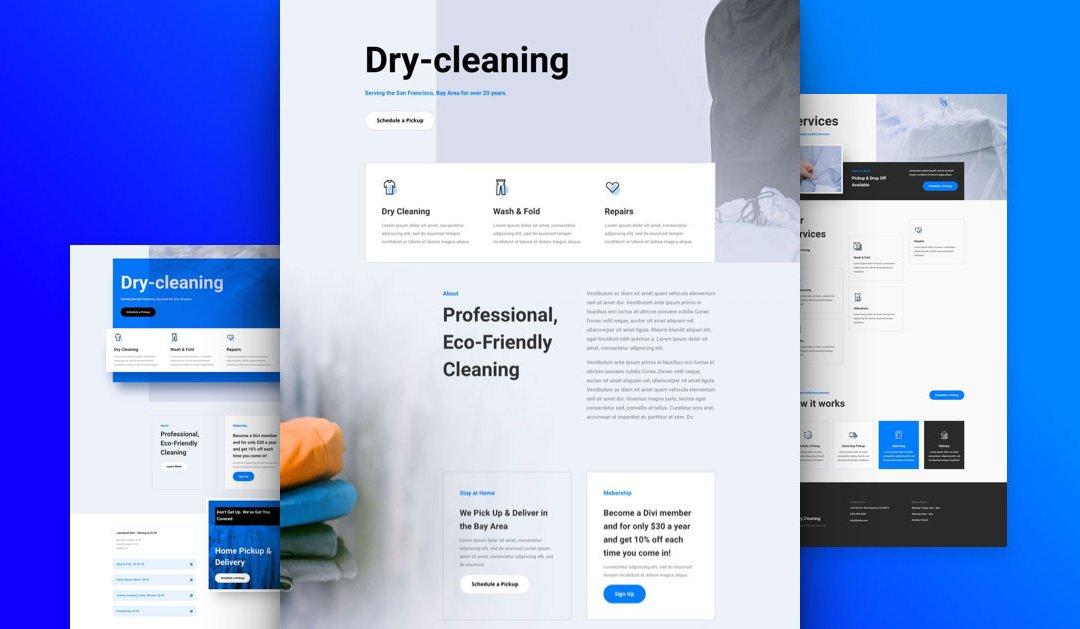 Divi: Předpřipravený vzhled webu pro čistírnu (včetně obrázků) zdarma ke stažení