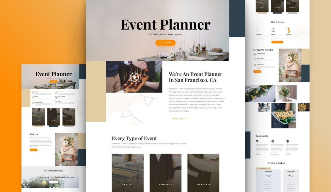 Divi: Předpřipravený vzhled webu pro plánovače událostí (včetně obrázků) zdarma ke stažení