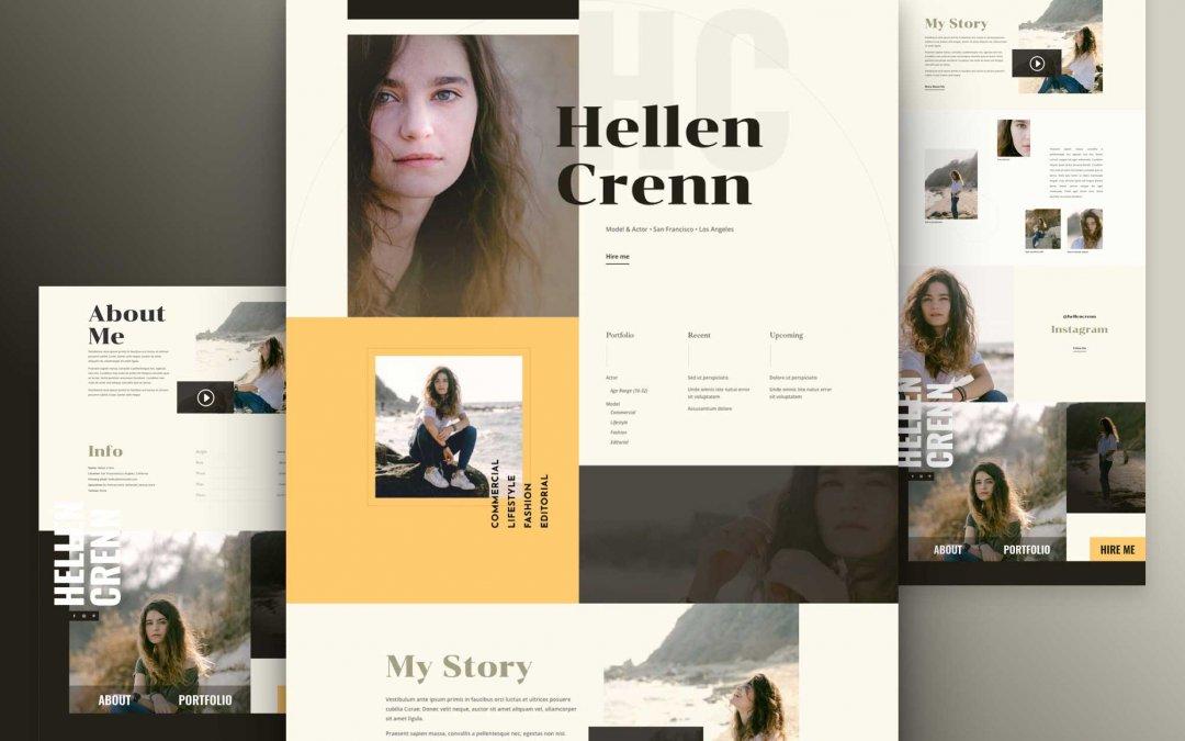 Divi: Předpřipravený vzhled webu pro životopis modelky (včetně obrázků) zdarma ke stažení