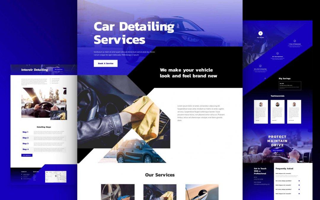 Divi: Předpřipravený vzhled webu pro nabídku autokosmetiky (včetně obrázků) zdarma ke stažení