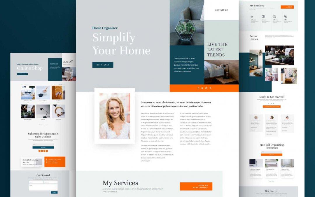 Divi: Předpřipravený vzhled webu pro organizátora domácnosti (včetně obrázků) zdarma ke stažení
