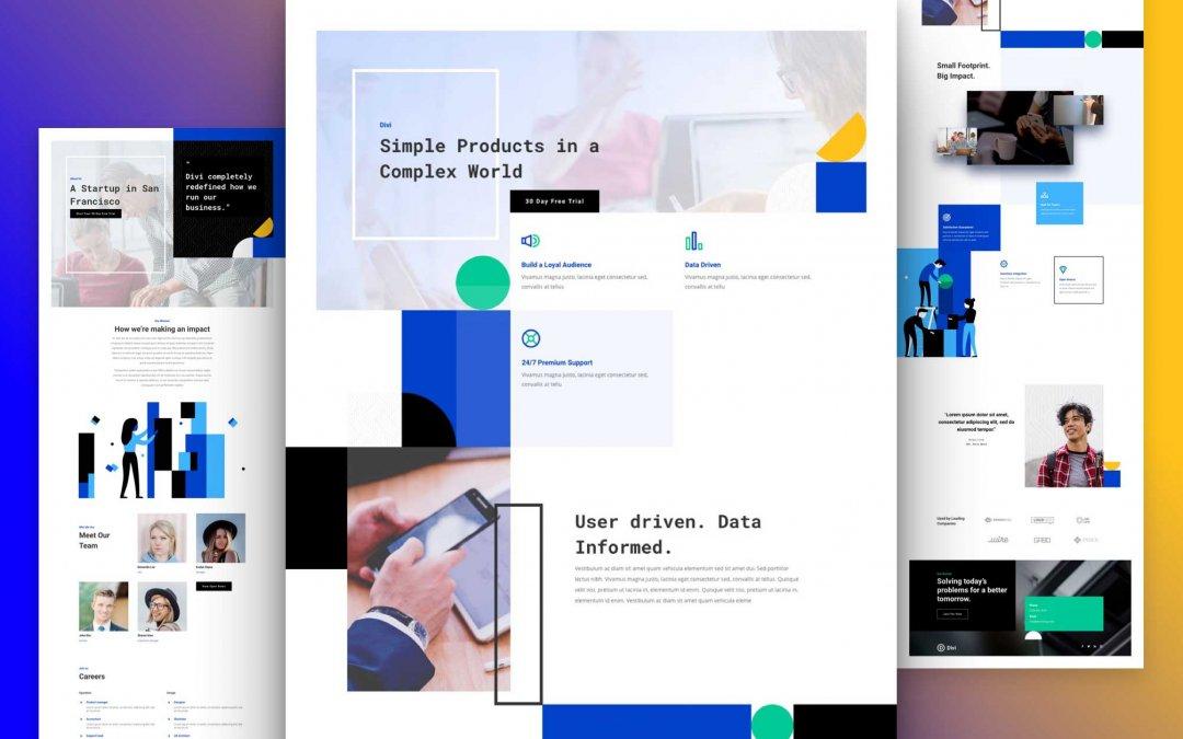Divi: Předpřipravený vzhled webu pro startup (včetně obrázků) zdarma ke stažení
