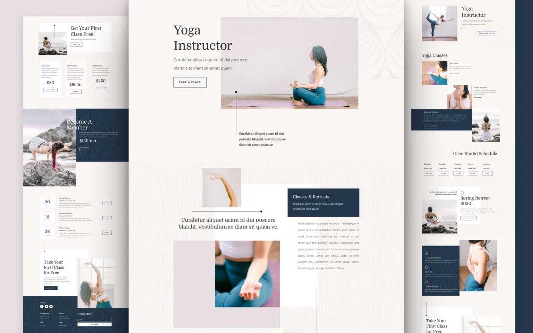 Divi: Předpřipravený vzhled webu pro instruktora jógy (včetně obrázků) zdarma ke stažení