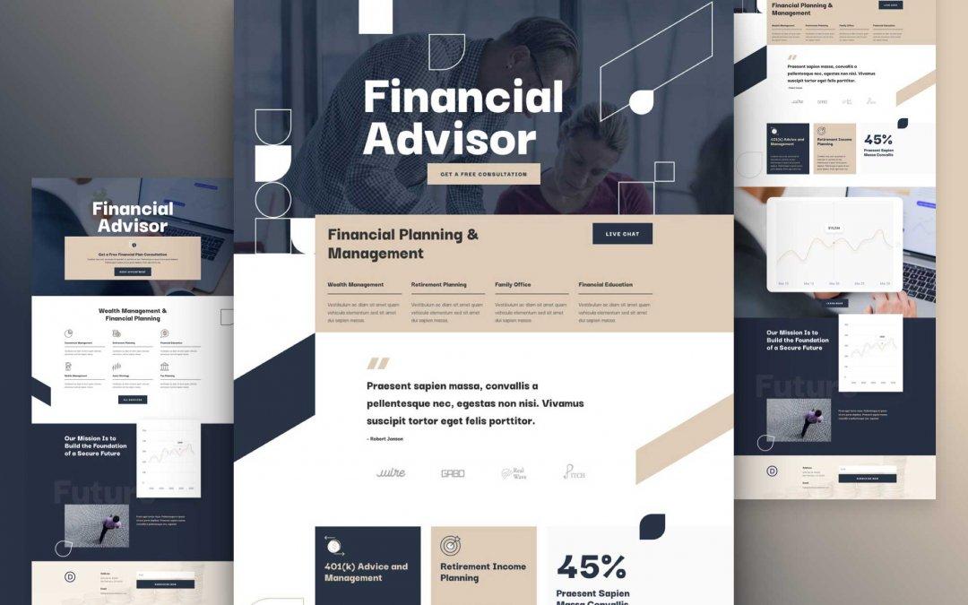 Divi: Předpřipravený vzhled webu pro finančního poradce (včetně obrázků) zdarma ke stažení