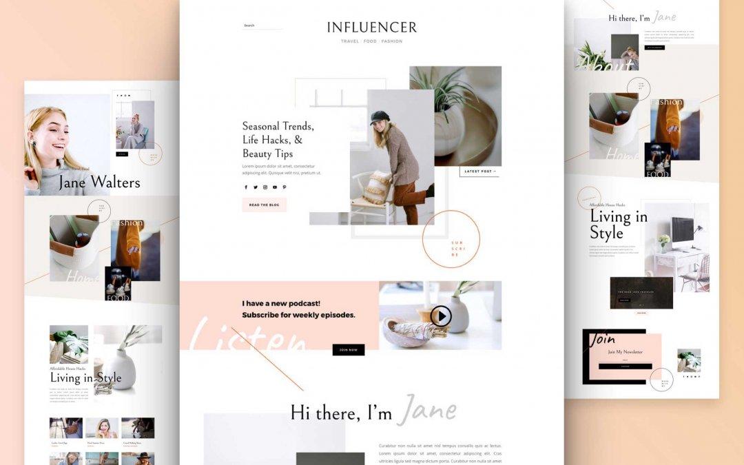Divi: Předpřipravený vzhled webu pro influencera (včetně obrázků) zdarma ke stažení