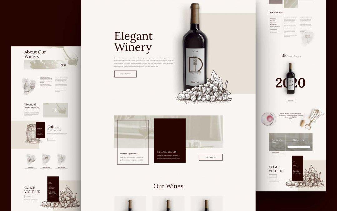 Divi: Předpřipravený vzhled webu pro vinařství (včetně obrázků) zdarma ke stažení
