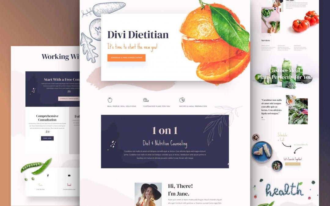 Divi: Předpřipravený vzhled webu pro dietetika (včetně obrázků) zdarma ke stažení