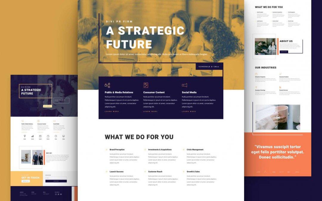 Divi: Předpřipravený vzhled webu pro PR firmu (včetně obrázků) zdarma ke stažení