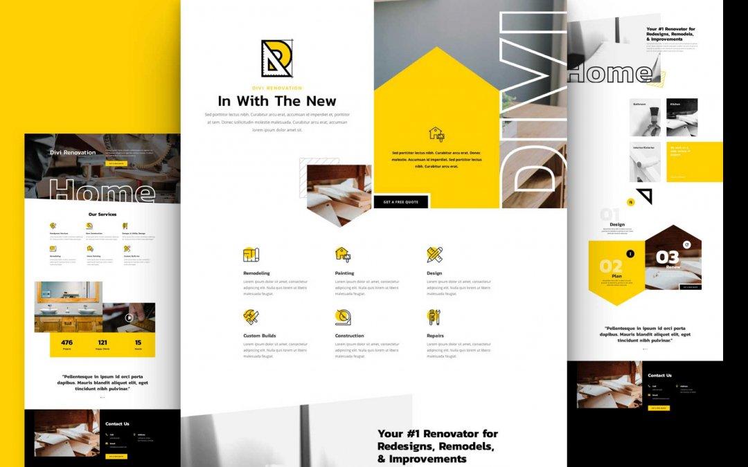 Divi: Předpřipravený vzhled webu pro renovace (včetně obrázků) zdarma ke stažení